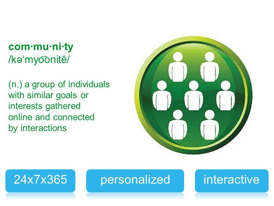 personalized 24x7x365 interactive com·mu·ni·ty /kəˈmyo͞onitē/ clients