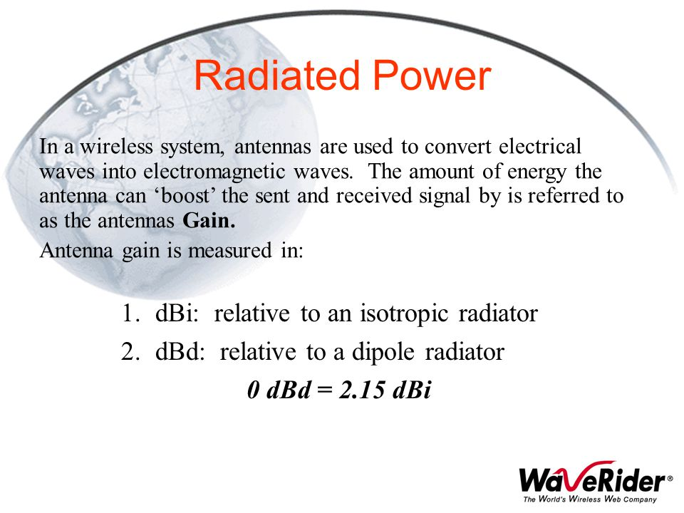 Radiated Power dBi: relative to an isotropic radiator