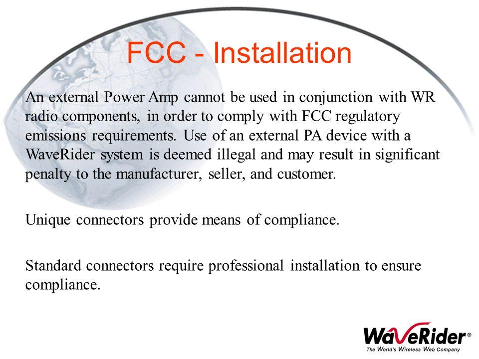 FCC - Installation