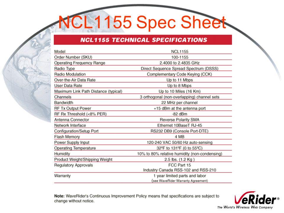 NCL1155 Spec Sheet