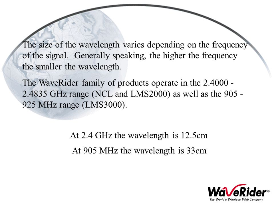 At 2.4 GHz the wavelength is 12.5cm