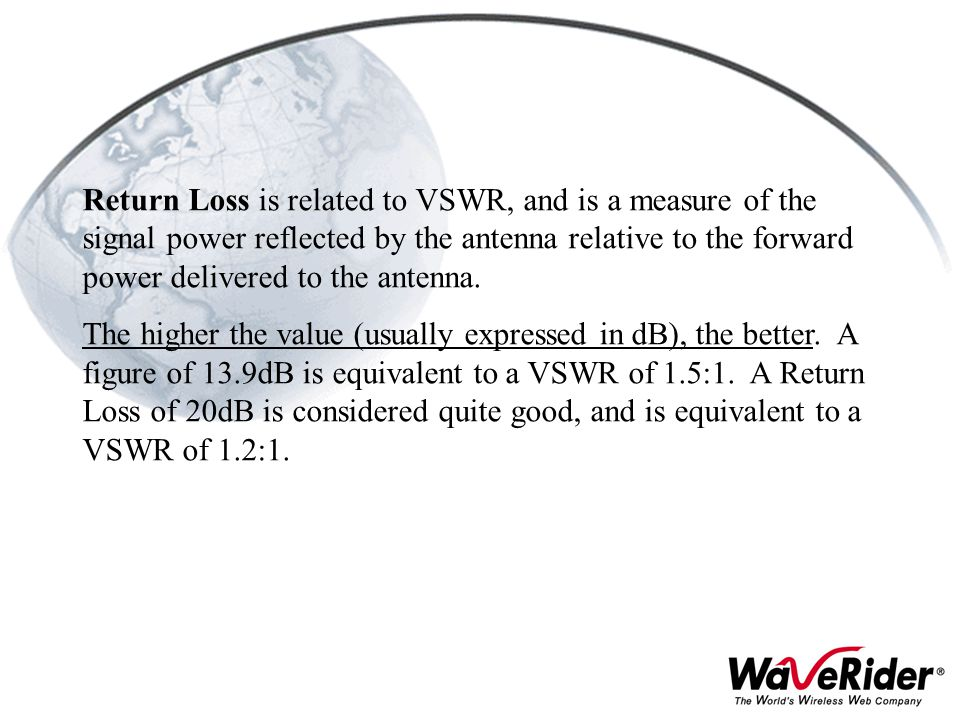 Return Loss is related to VSWR, and is a measure of the signal power reflected by the antenna relative to the forward power delivered to the antenna.