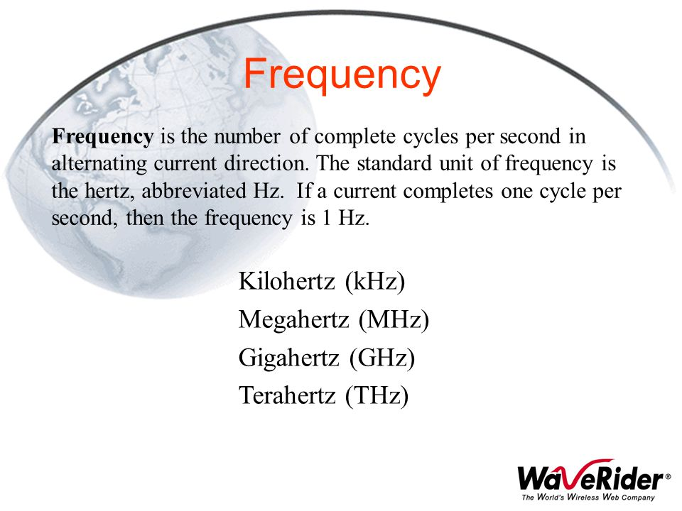 Frequency Kilohertz (kHz) Megahertz (MHz) Gigahertz (GHz)