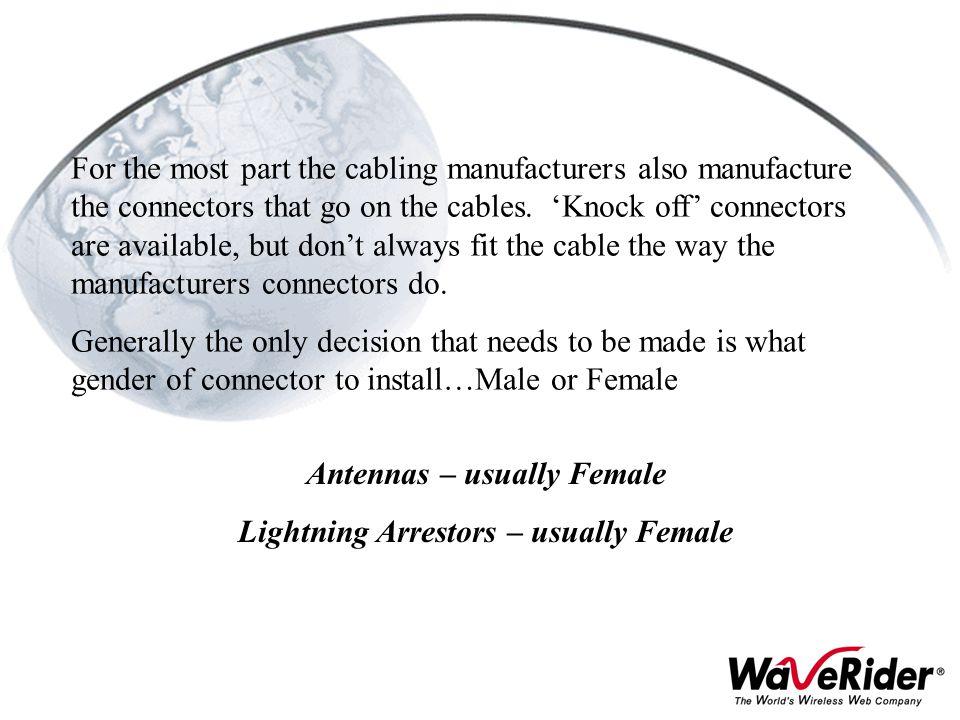 Antennas – usually Female Lightning Arrestors – usually Female