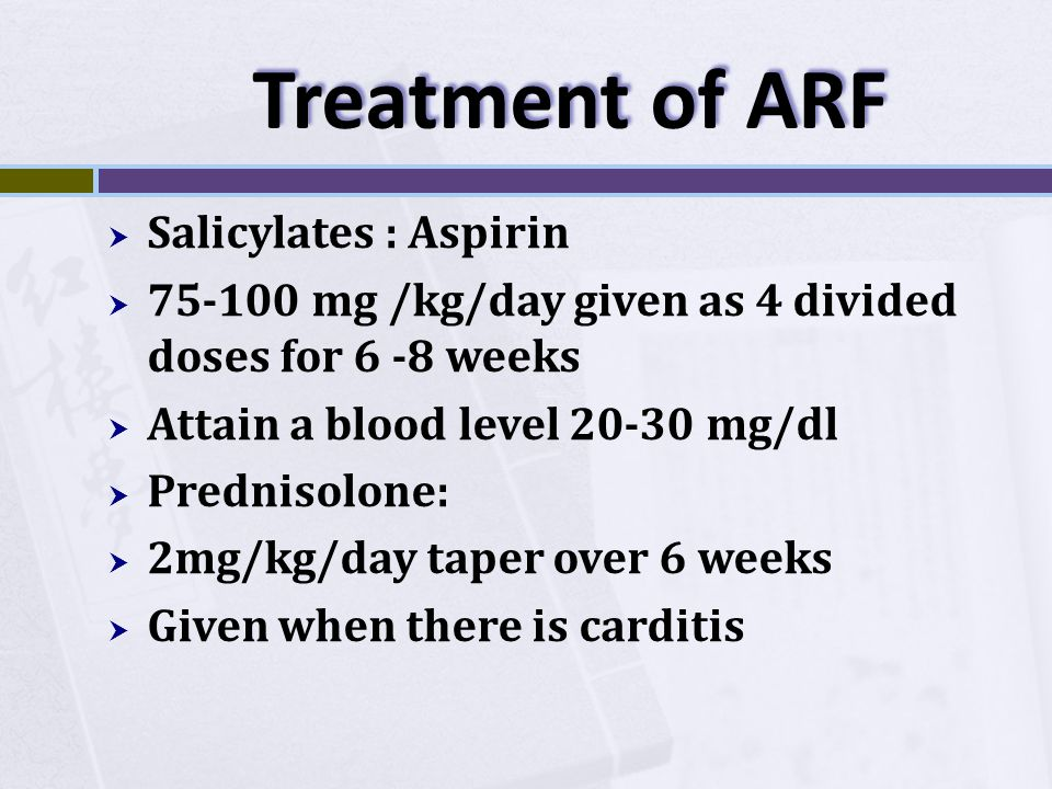 Treatment of ARF Salicylates : Aspirin