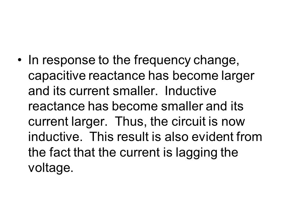 In response to the frequency change, capacitive reactance has become larger and its current smaller.