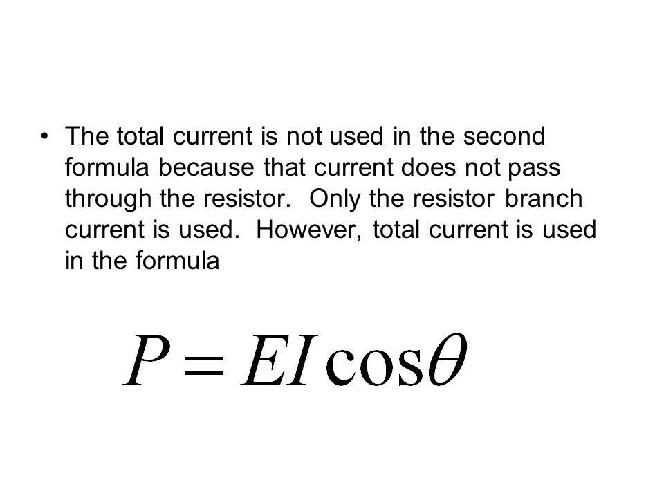 The total current is not used in the second formula because that current does not pass through the resistor.