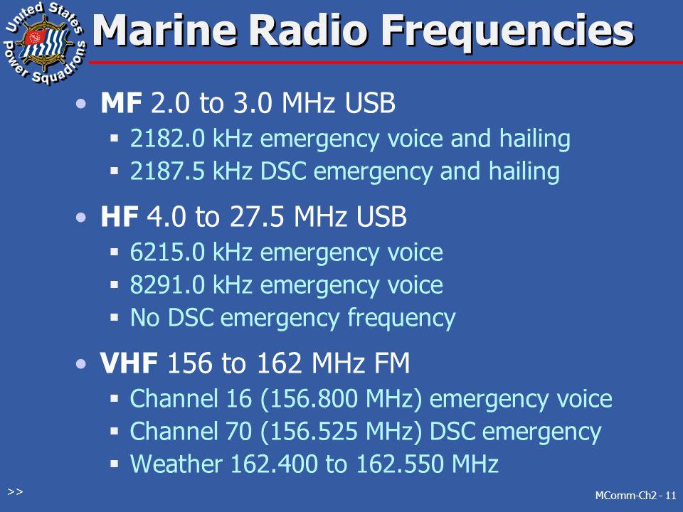 Marine Radio Frequencies