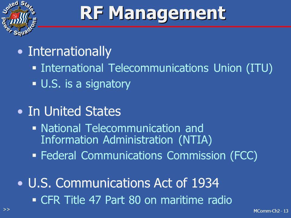 RF Management Internationally In United States