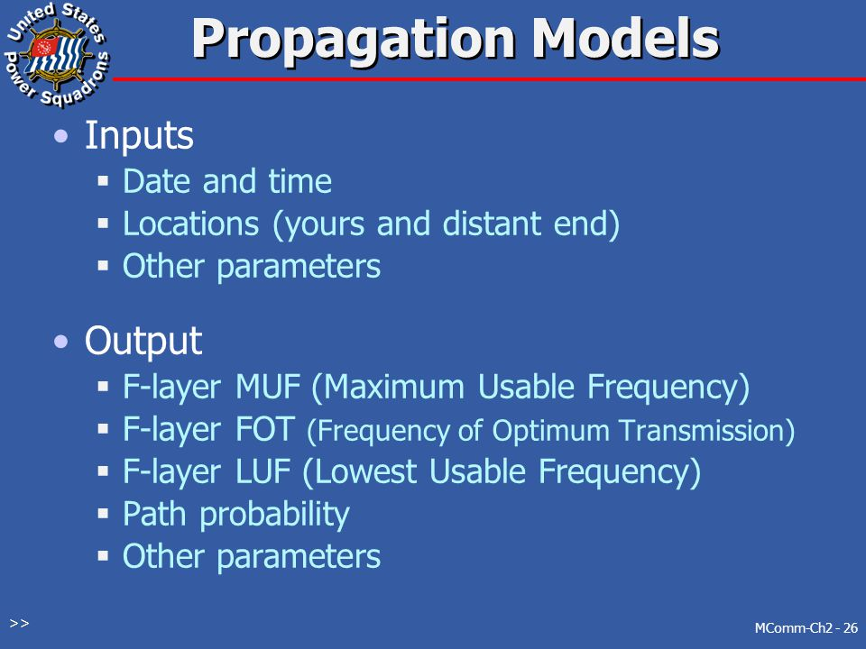 Propagation Models Inputs Output Date and time