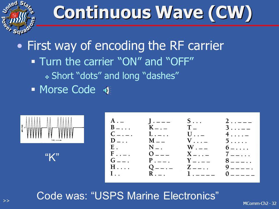 Code was: USPS Marine Electronics