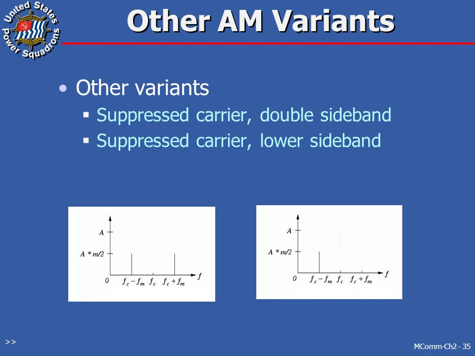 Other AM Variants Other variants Suppressed carrier, double sideband