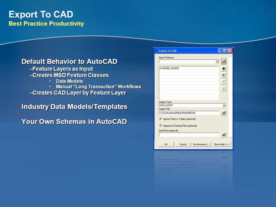 Export To CAD Default Behavior to AutoCAD