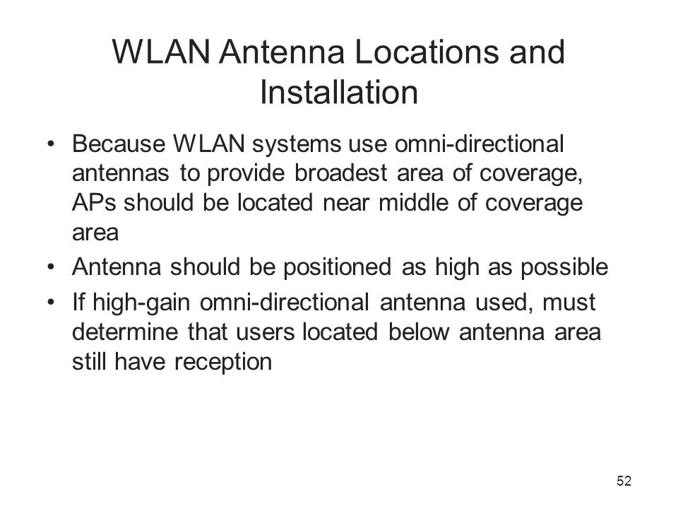 WLAN Antenna Locations and Installation