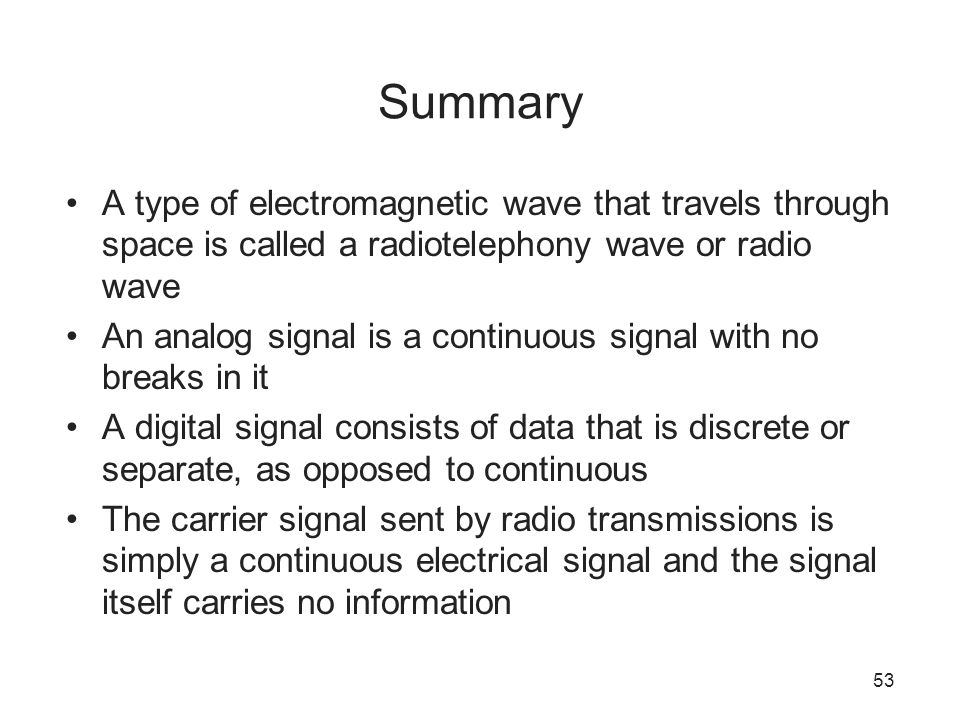 Summary A type of electromagnetic wave that travels through space is called a radiotelephony wave or radio wave.