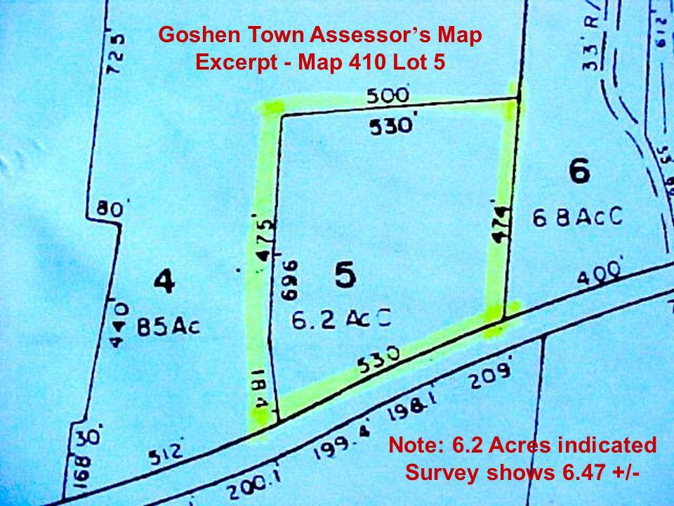 Goshen Town Assessor's Map Excerpt - Map 410 Lot 5
