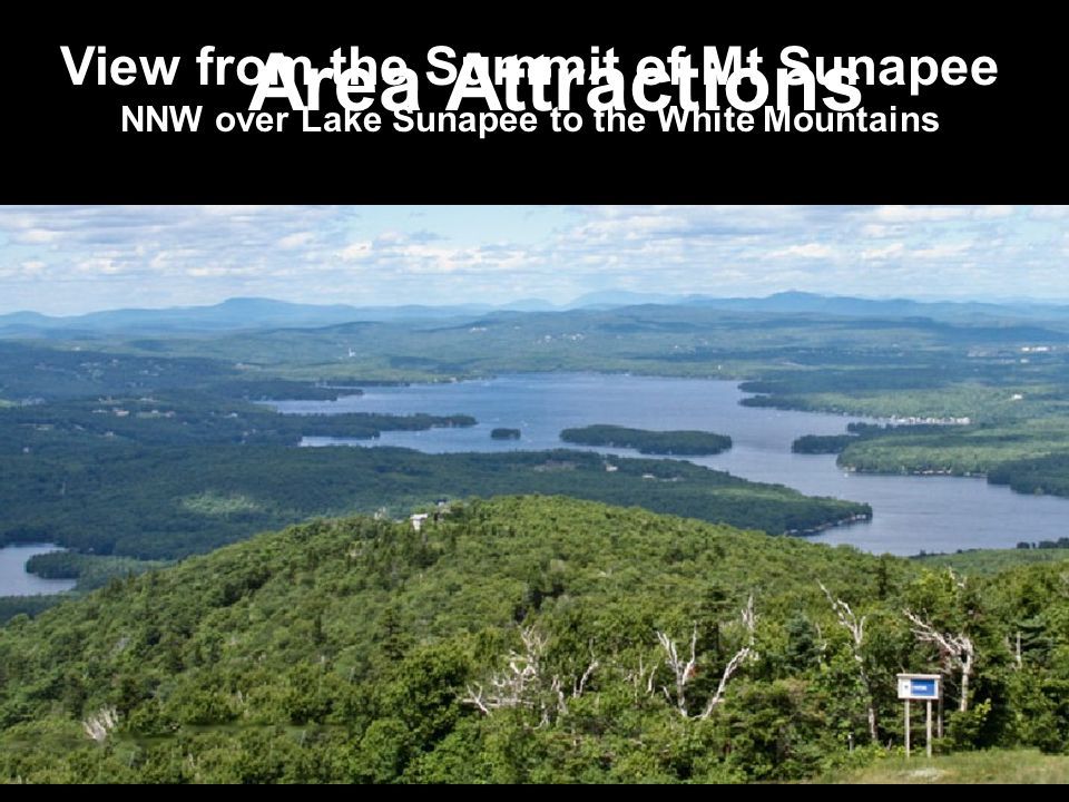 View from the Summit of Mt Sunapee NNW over Lake Sunapee to the White Mountains