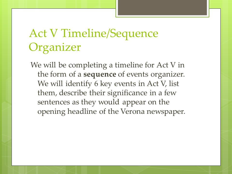 Act V Timeline/Sequence Organizer