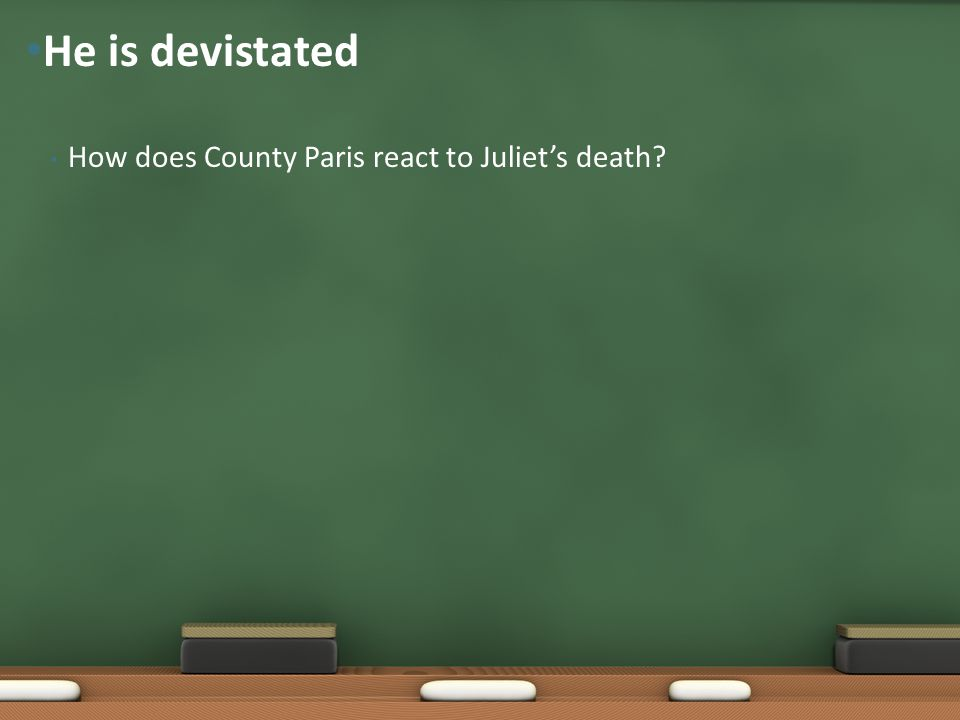 He is devistated How does County Paris react to Juliet's death