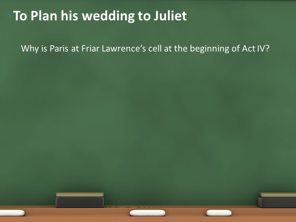 To Plan his wedding to Juliet
