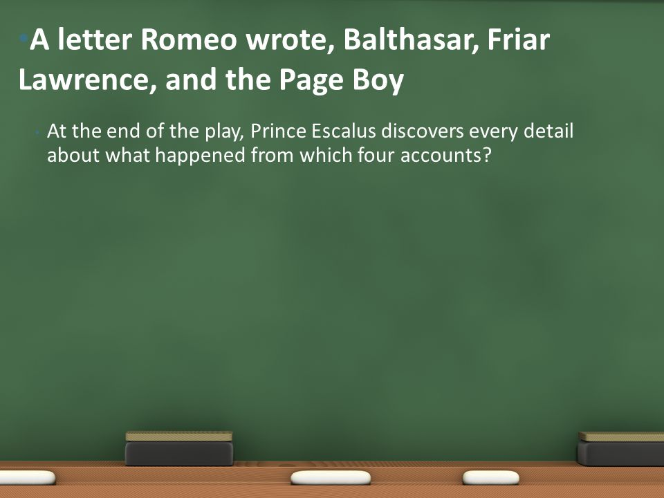 A letter Romeo wrote, Balthasar, Friar Lawrence, and the Page Boy