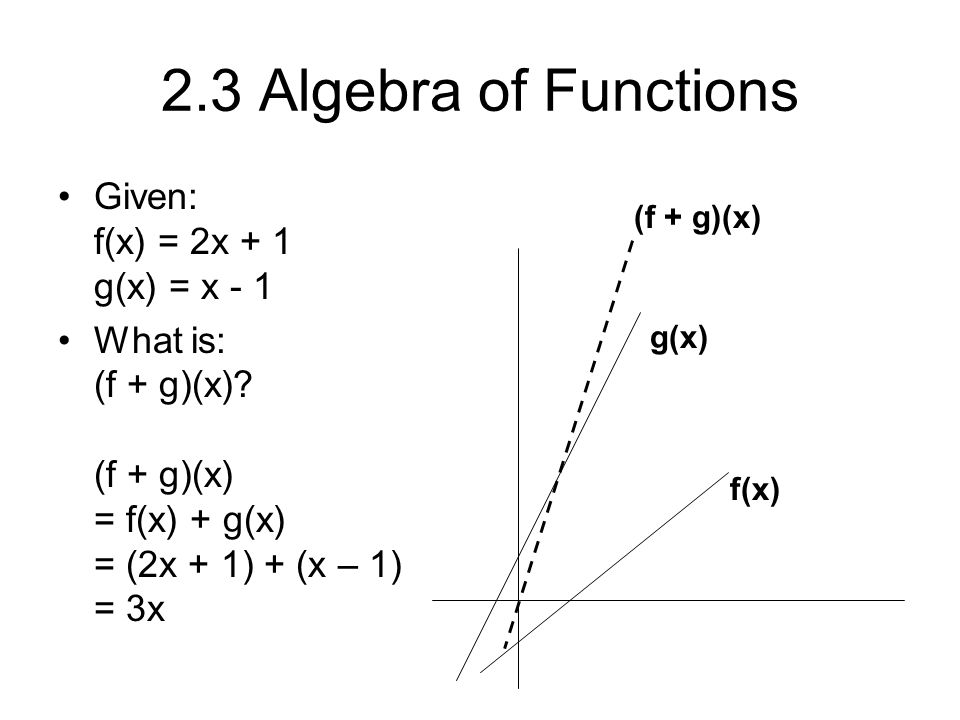 2.3 Algebra of Functions Given: f(x) = 2x + 1 g(x) = x - 1