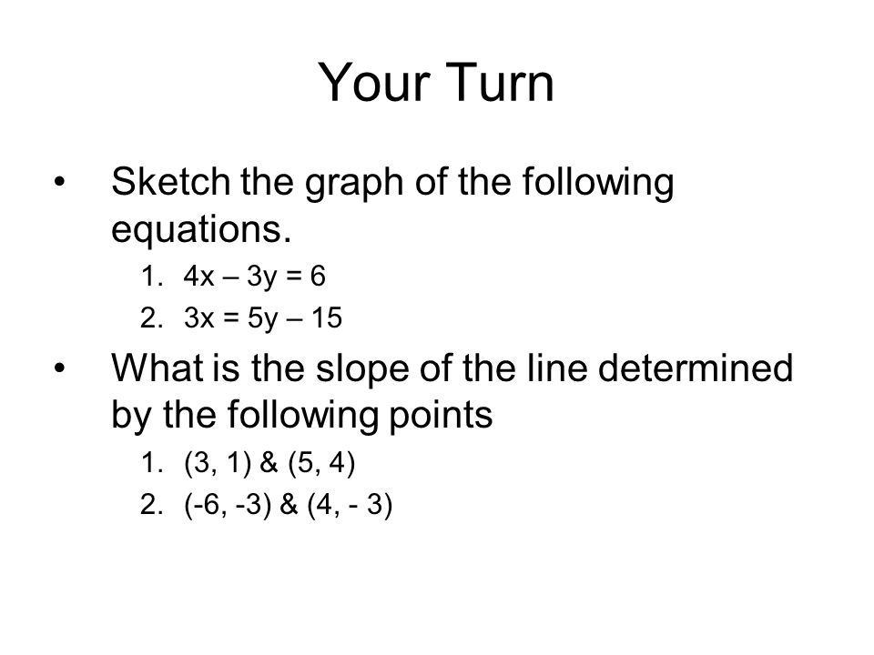 Your Turn Sketch the graph of the following equations.
