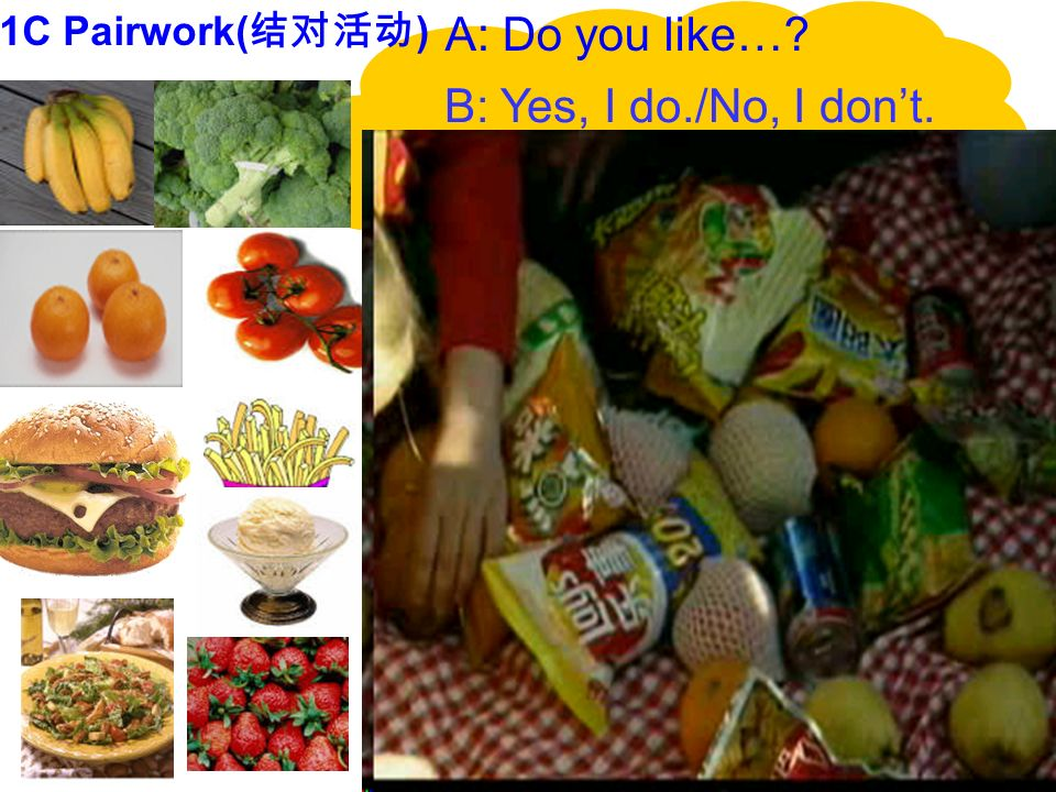 1C Pairwork(结对活动) A: Do you like… B: Yes, I do./No, I don't.