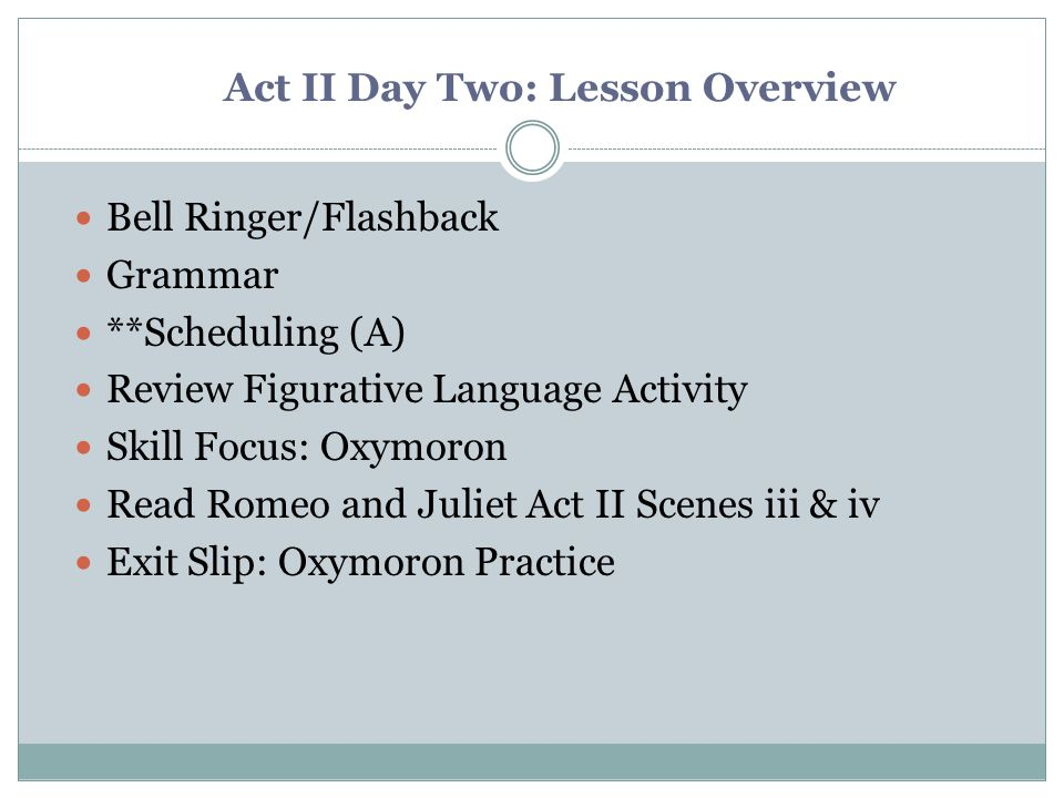 Act II Day Two: Lesson Overview