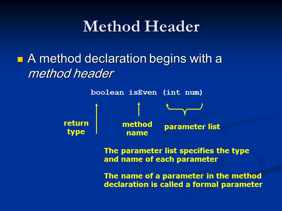 Method Header A method declaration begins with a method header