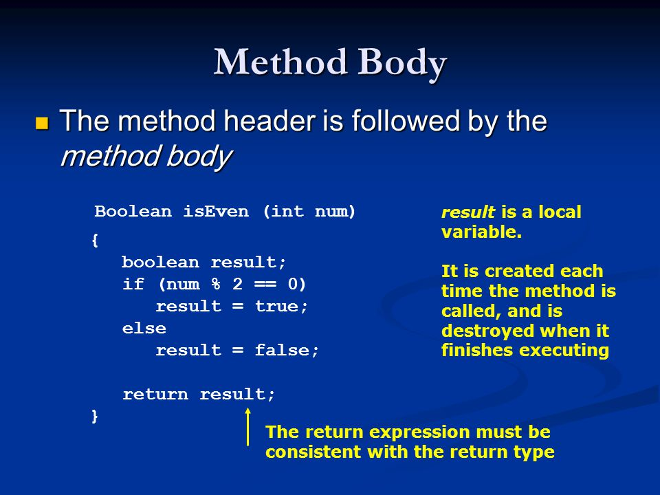 Method Body The method header is followed by the method body