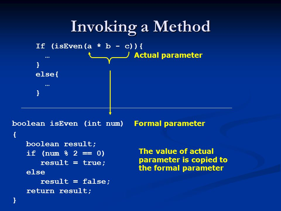 Invoking a Method If (isEven(a * b - c)){ … } else{ … }