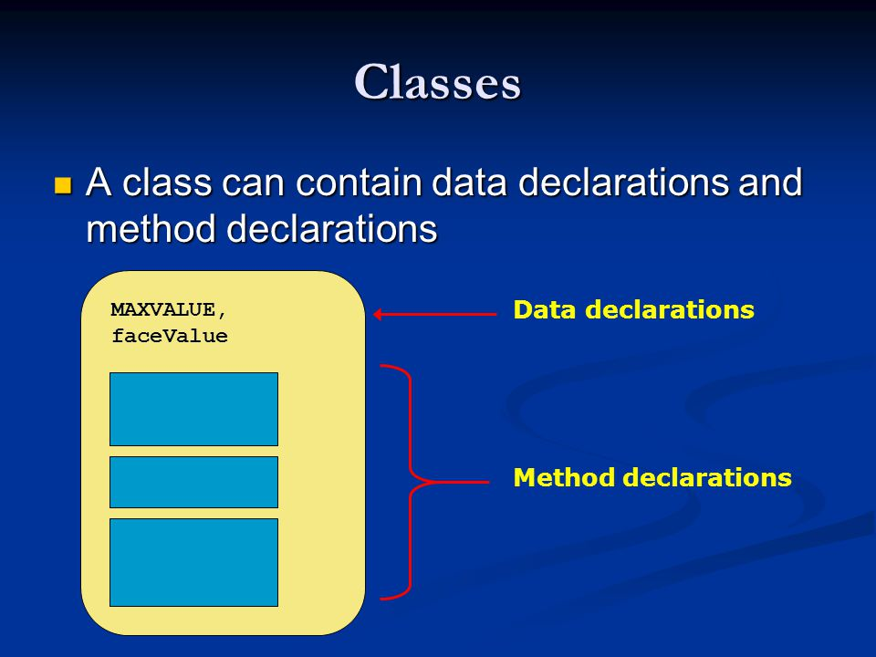 Classes A class can contain data declarations and method declarations