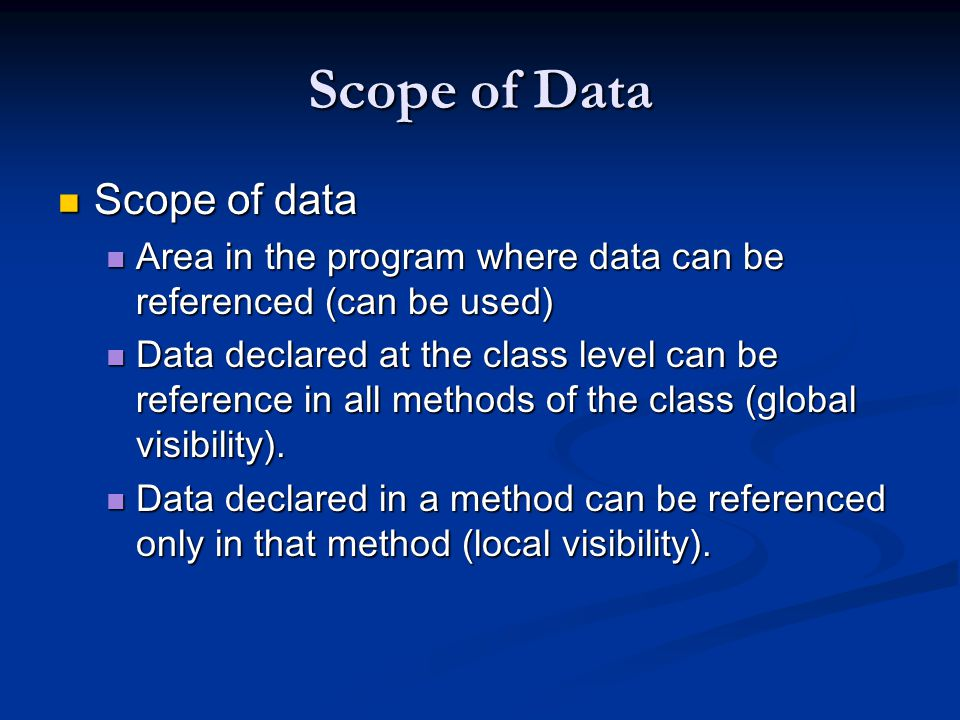 Scope of Data Scope of data