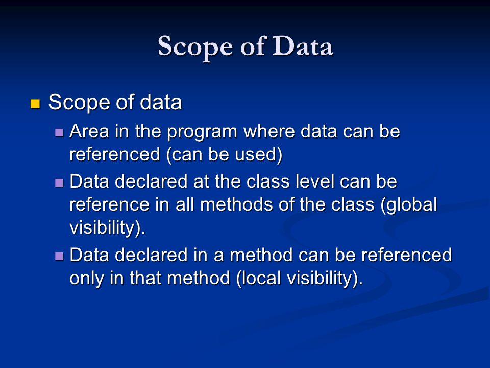 Scope of Data Scope of data