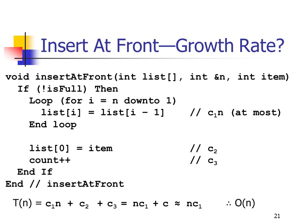 Insert At Front—Growth Rate
