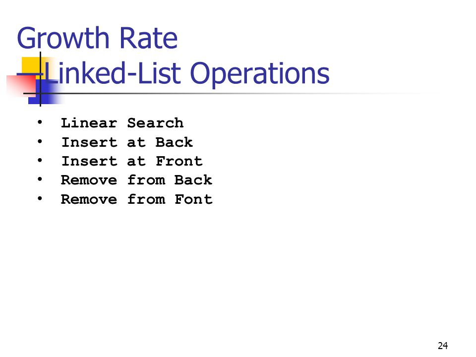 Growth Rate —Linked-List Operations