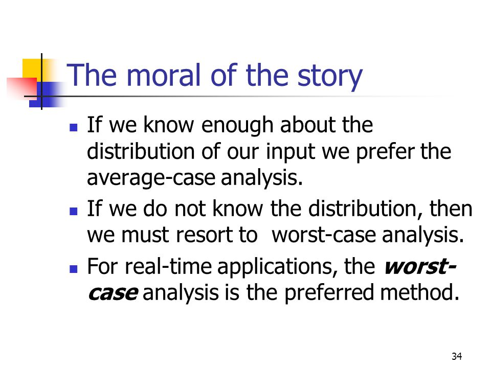The moral of the story If we know enough about the distribution of our input we prefer the average-case analysis.