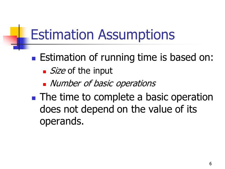Estimation Assumptions