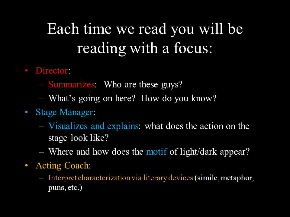 Each time we read you will be reading with a focus: