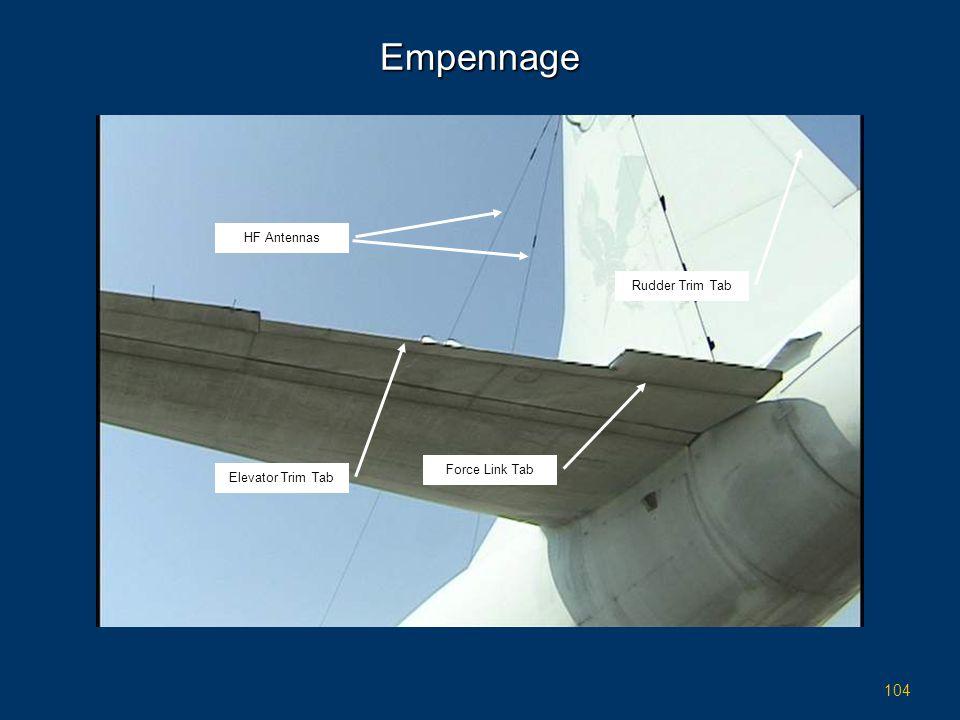 Empennage HF Antennas Rudder Trim Tab Force Link Tab Elevator Trim Tab