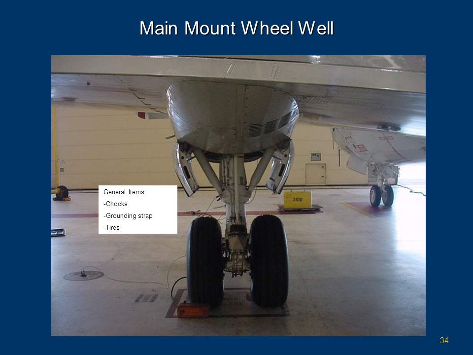 Main Mount Wheel Well General Items: Chocks Grounding strap Tires