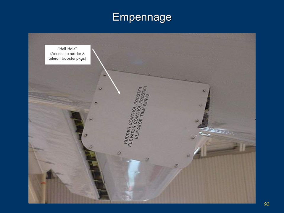 (Access to rudder & aileron booster pkgs)