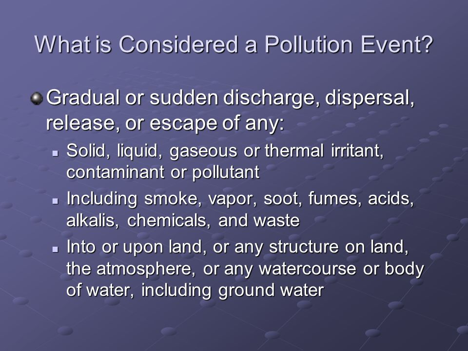 What is Considered a Pollution Event