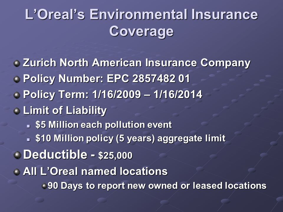 L'Oreal's Environmental Insurance Coverage