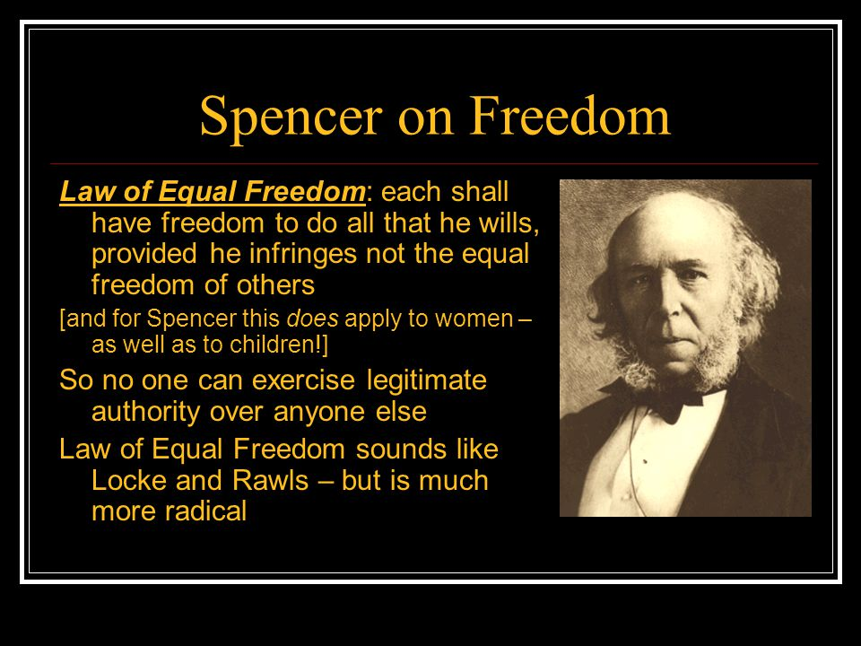 Spencer on Freedom Law of Equal Freedom: each shall have freedom to do all that he wills, provided he infringes not the equal freedom of others.