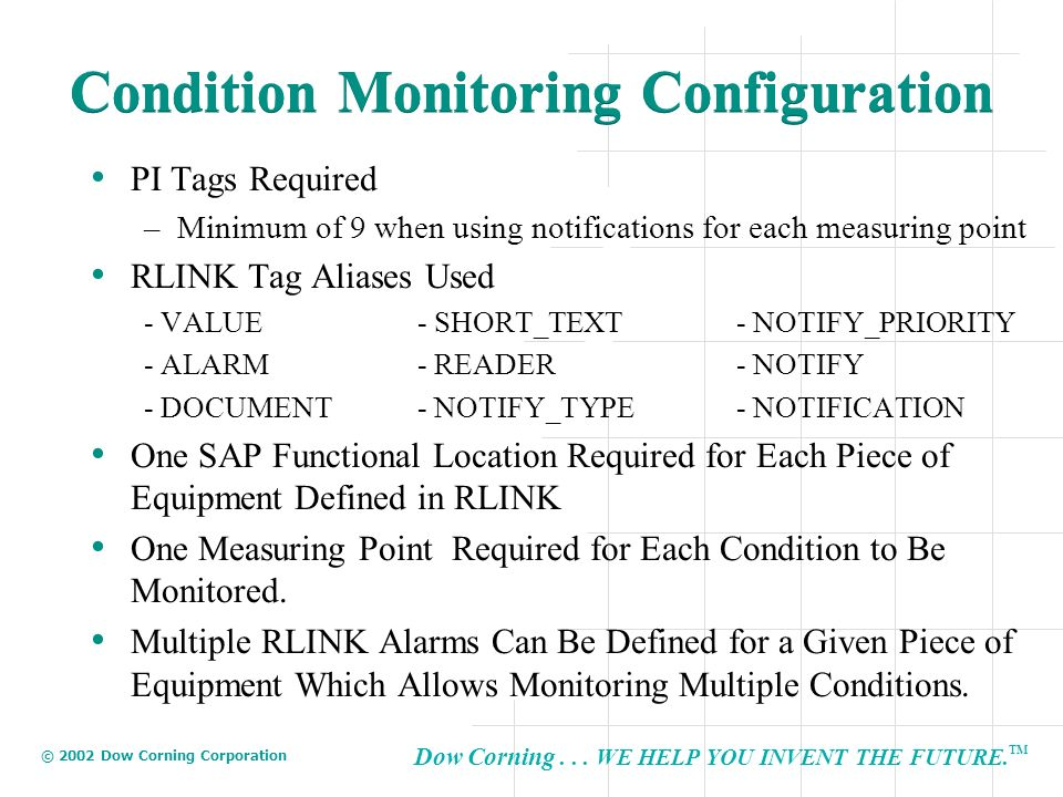 Condition Monitoring Configuration