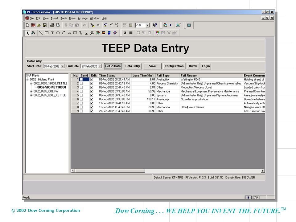 Once logged in a tree structure allows the user to select a functional location to perform data entry/review.