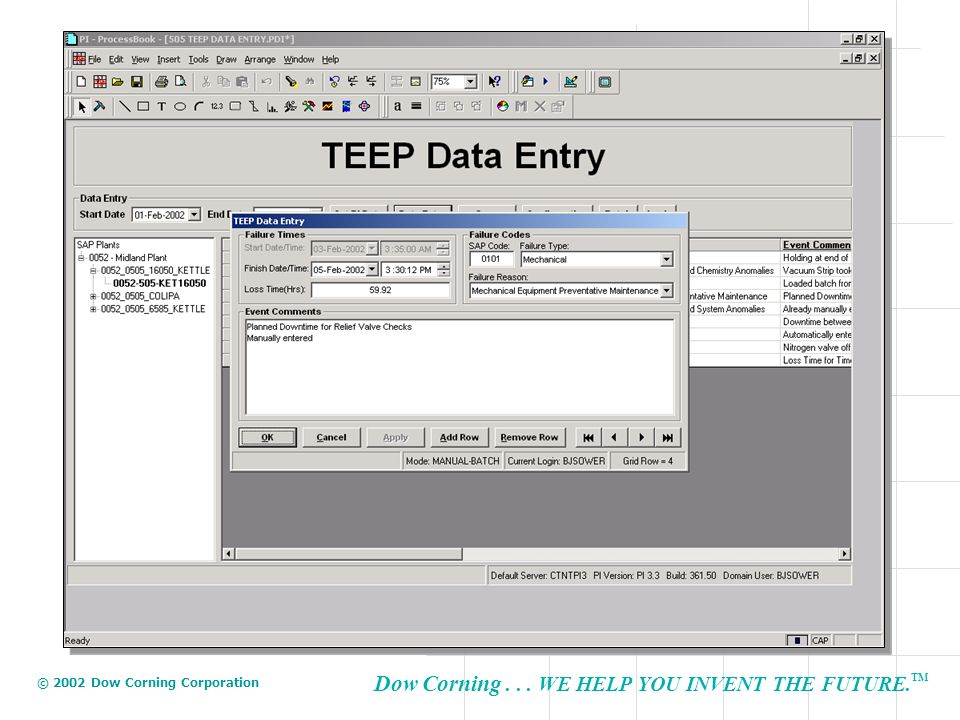 Data entry is performed through this dialog box where the user selects the failure type, failure reason and enters a comment is necessary.
