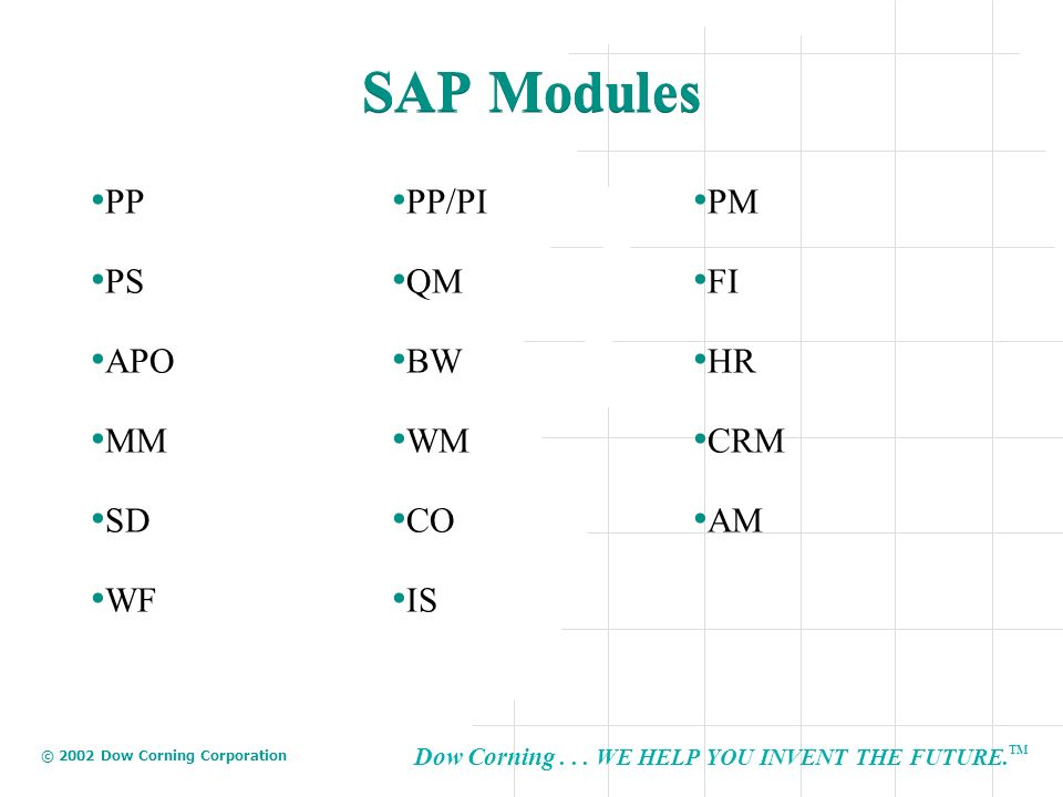 SAP Modules PP PP/PI PM PS QM FI APO BW HR MM WM CRM SD CO AM WF IS